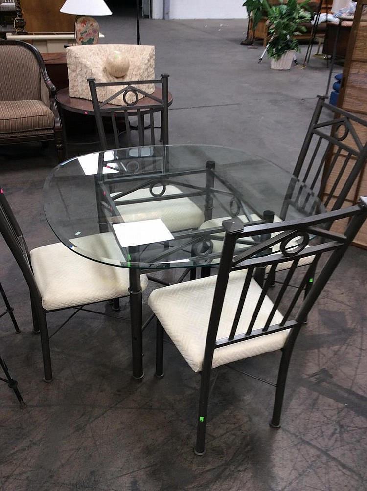 Glass and metal dining