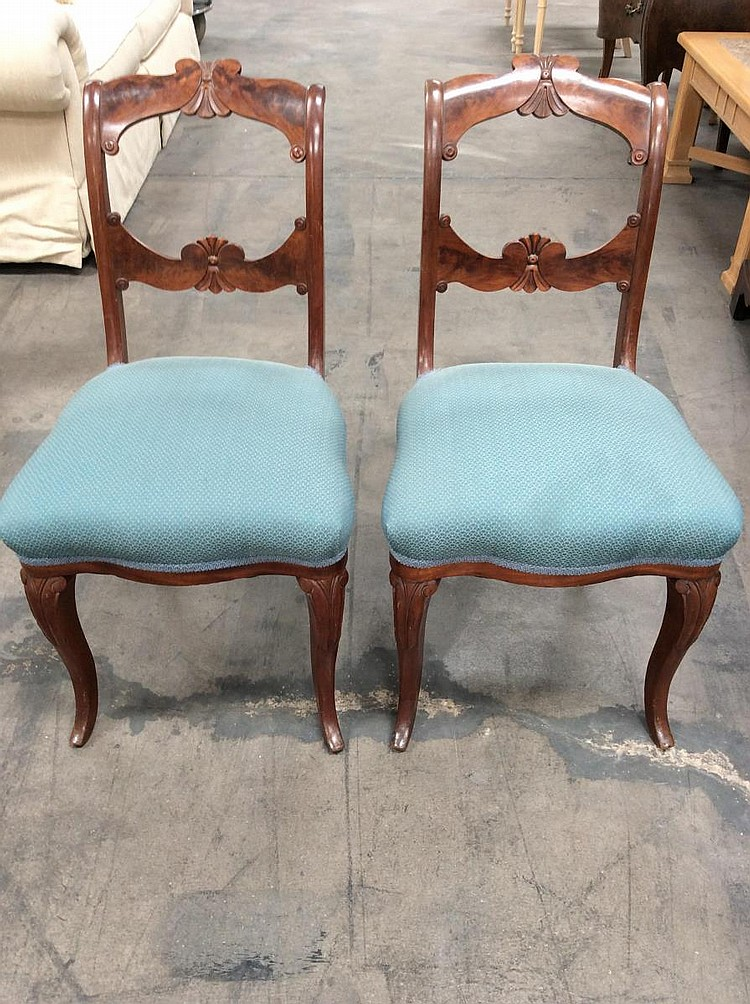 2pc mahogany turquoise upholstered chairs - Turquoise upholstered dining chair ...