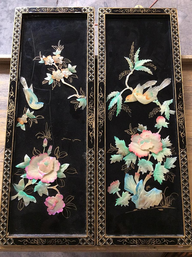 pair of japanese inspired mother of pearl wall art. Black Bedroom Furniture Sets. Home Design Ideas