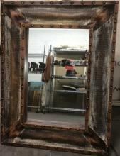 Faux Hide Lined Nailhead Accent Mirror