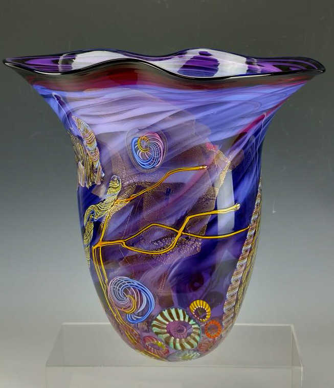 2002 Signed Hand Blown Large Glass Art Vase