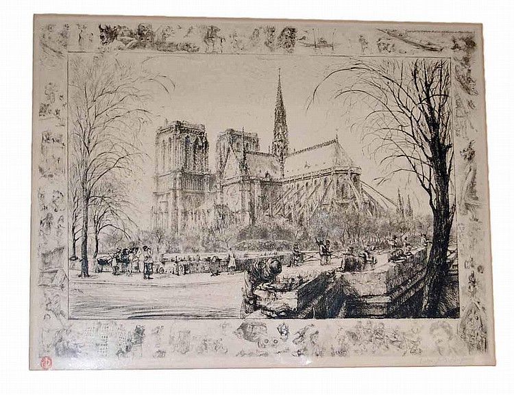 Jean-Jules Dufour (French, 1889-1945) Pencil Signed Parisian Etching