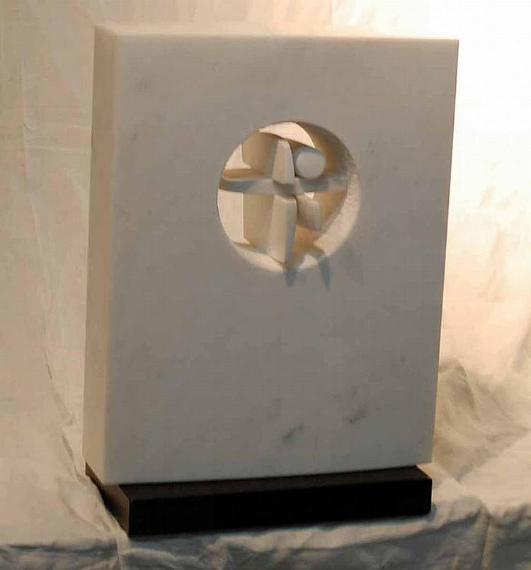 Ben (Benjamin) Goo (b.1922) White Marble Modernist Sculpture