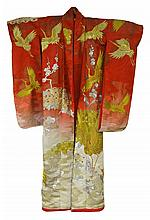 Japanese Uchikake Silk Kimono, Circa 1950s