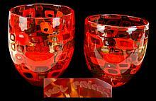 PAIR Mel Fraser Art Glass Bowl Lot
