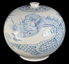 Blue and White Dragon Vase
