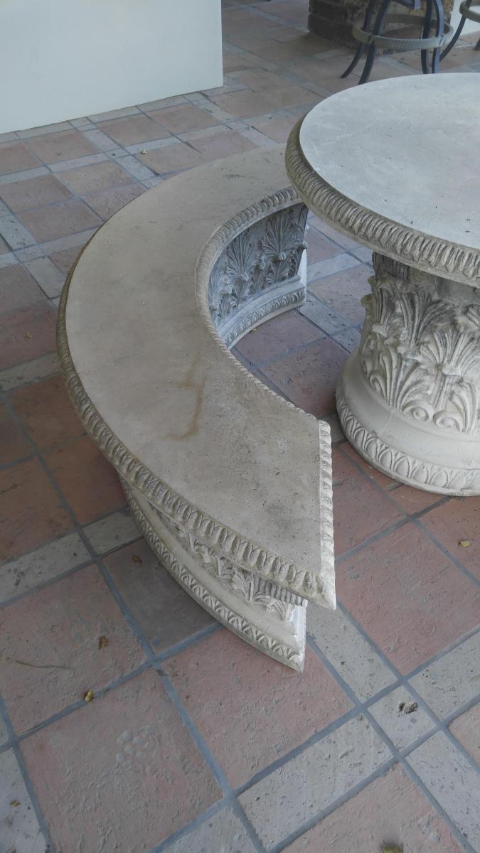 Faux Concrete Patio Table Benches