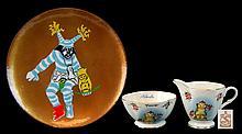 Old Bone China Billiken Cream & Sugar Lot