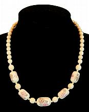 Vintage Chinese Scrimshawed Ivory Necklace