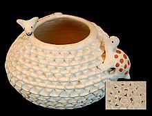 S. Shutiva Acoma Turtle/Dog Pottery Bowl