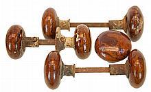 (7) Antique Bennington Molded Porcelain Doorknobs