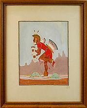 1961 Begay Indian Dancer Watercolor