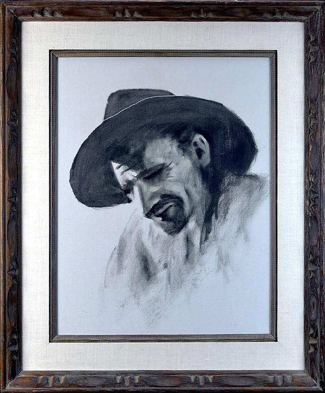 Jimmy Abeita Acrylic Painting, Portrait of Man