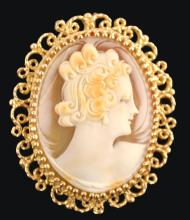 14K Yellow Gold Vintage Shell Cameo Brooch