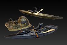 Inuit Northwest Coast Carved Stone Canoes, Figures