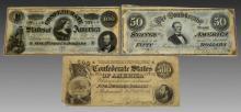 $500, $100, $50 Confederate States of America Note