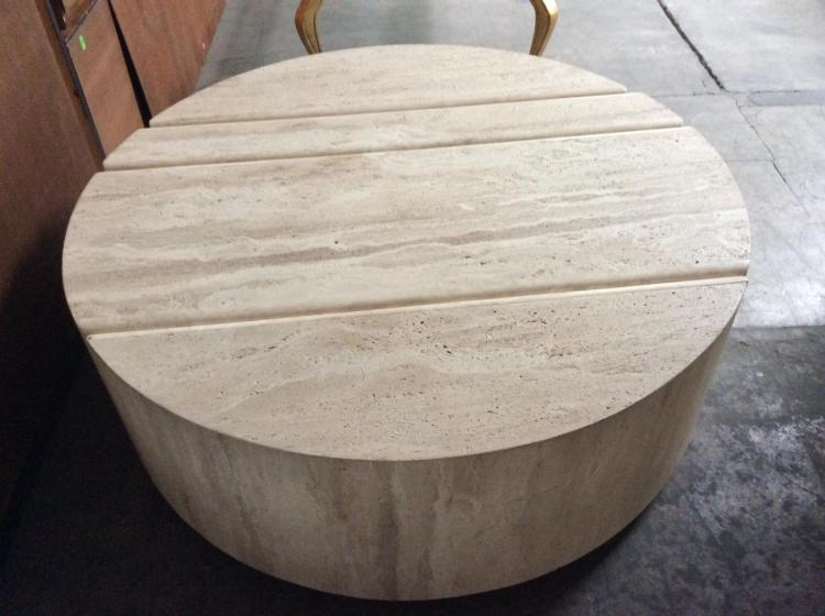 Round Travertine Coffee Table