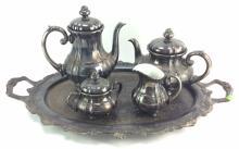 5Pc. 20th C. Silverplate Tea Set