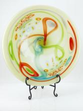 Hand Blown Art Glass Plate & Stand