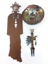 3Pc. Southwestern Bowl, & Cut Metal Figures
