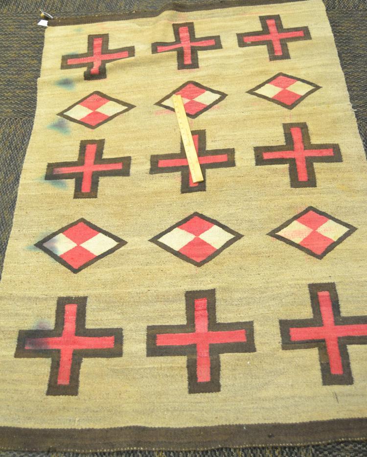 Antique Navajo Hand-Woven Wool Rug Cross Design