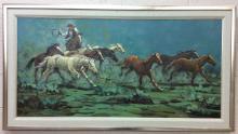 Austin Deuel, Cowboy &Herding Horses Oil on Canvas