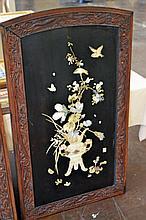 Oriental Bone and Stone Inlaid Wall Panel #3