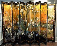 12 Panel Black Lacquer Oriental Coromandel Screen