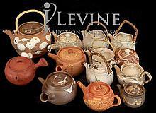 (13) Pcs. Asian Banko Ceramic Pottery Teapot Lot