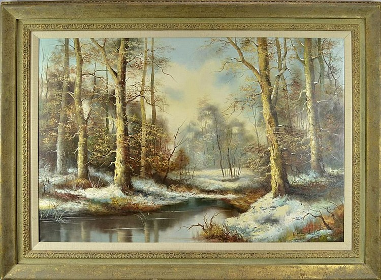 J karlsbader oil painting wintry landscape for Fine art paintings for sale online