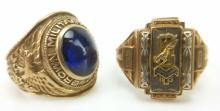 2pc. 10k Brown Academy Class Rings