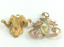 2Pc. 14k Gold Charms