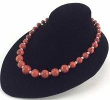 Beaded Coral Necklace w/ Sterling Clasp