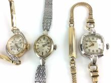 3Pc. Ladies Bulova 10K Rolled Gold Plate Watches