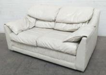 White Leather Lounge Love Seat