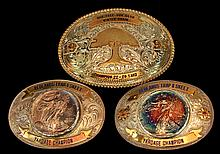 3 Pcs. Gun Club Belt Buckle Lot