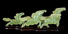 Carved Jade Horse Sculpture w/ Stand