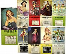 Nine Large 1950s Frahm Pin-Up Posters Calendar