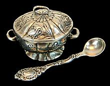 Sterling Silver Salt Cellar with Spoon