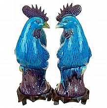 PAIR Chinese Glazed Pottery Roosters w/ Stand