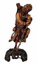 Chinese Carved Wood Immortal Figure