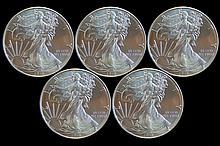 5 Uncirculated 2013 Silver Eagle Dollar