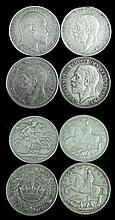 4 Pc. Circulated George V, Edward VII Silver Coin
