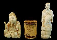 (3) Pcs. Japanese Carved Ivory & Bone