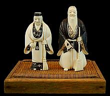 PAIR Japanese Carved Ivory: Domestic Figures