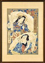 Antique Japanese Woodblock Print of Kabuki Actors