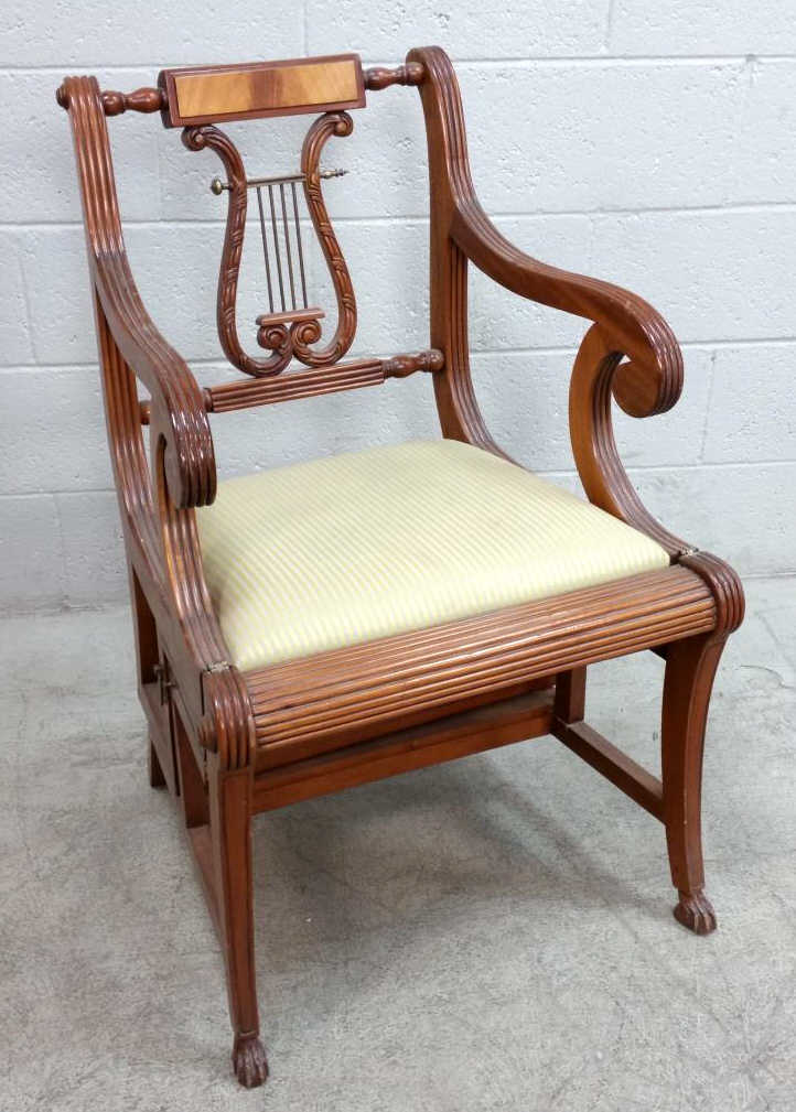Lyre Accent Arm Chair Converts Into Step Stool