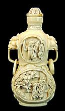 Signed Chinese Carved Ivory Snuff Bottle