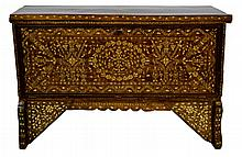 Inlaid Moroccan Drop Front Wood Blanket Chest