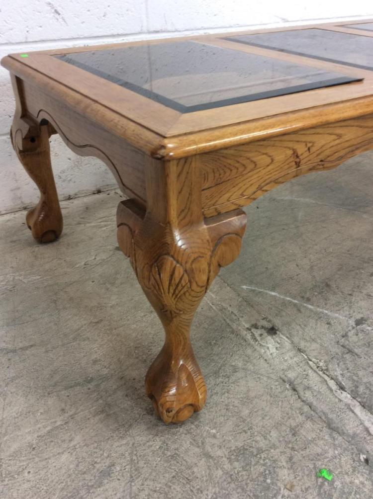 Traditional Style Glass Insert Coffee Table